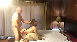 Hot enslaved MILF getting pounded and spanked
