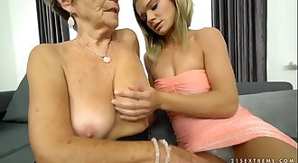 Granny Malya and her much junior friend's fresh pussy