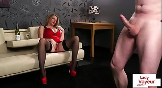 Classy british whore humiliating tugging sub