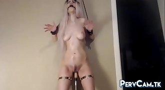 Orgasmic Camgirl Takes Fucking Machine Dildo